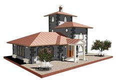 Ancient Old Church-3D Royalty Free Stock Photography
