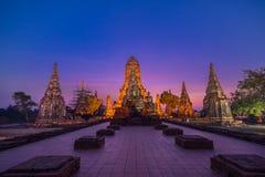 Ancient old pagoda in twilight at Wat Chai Wattanaram, Buddhist Stock Photos