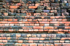 Ancient old red brick grunge wall fragment background, texture Stock Photos