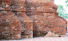 Ancient old red brick grunge wall fragment background, texture Royalty Free Stock Photography