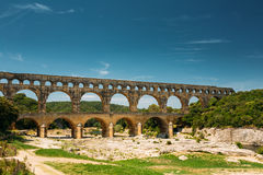 Ancient old Roman aqueduct of Pont du Gard, Nimes Stock Images