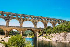 Ancient old Roman aqueduct of Pont du Gard, Nimes, France Stock Photos