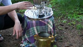 Ancient old samovar stock video footage