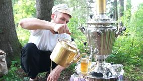 Ancient old samovar stock video