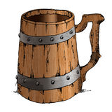 Ancient old wooden handmade mug isolated on ite background Stock Images