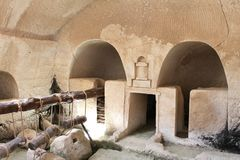 Ancient Olive Press. An ancient olive press at beit govrin, Israel Stock Images