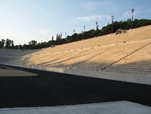 Ancient Olympic stadium, Athens, Greece. Panathinaikos is the first of the stadiums of antiquity. Panathinaikos — stadium, Athens, unique in the world, built Royalty Free Stock Image