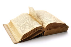 Ancient opened book with a page teared out Royalty Free Stock Photos