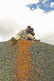 Ancient orange lichens growing on rocks in Centennial Valley near Lakeview, MT Stock Images