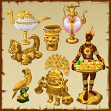 Ancient Oriental and Asian golden sculptures Royalty Free Stock Image