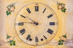 Clock with hand painted floral decoration Royalty Free Stock Photography