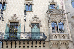 Ancient ornaments. Front of the ancient building with ornaments. Barcelona - Spain stock image