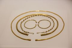 Ancient ornaments and jewellery at Georgian National Museum - Tbilisi. Georgia - Tbilisi Georgian National Museum nIts formation on December 30, 2004, the Museum stock images