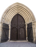 Ancient ornate door to the medieval church Royalty Free Stock Image