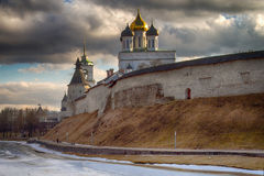 The ancient Orthodox Cathedral. Pskov, Russia. The ancient Orthodox Cathedral, the ancient city of Pskov, Russia Stock Images