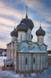 Ancient Orthodox church. Assumption Cathedral of the Rostov Kremlin in the winter against a decline Royalty Free Stock Photo