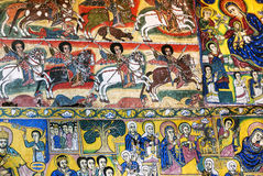 Ancient orthodox church interior painted walls in gondar ethiopi Royalty Free Stock Photos