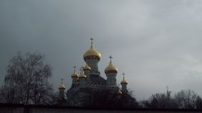 Ancient orthodox church in Kiev. Kiev, Pokrovsky Monastery. View.Golden domes of churches, cafedral Stock Images