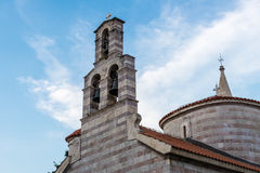 Ancient Orthodox church made of stone in the Byzantine style in Budva Adriatic, Montenegro Royalty Free Stock Photography