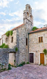 Ancient Orthodox church made of stone in the Byzantine style in Budva Adriatic, Montenegro Royalty Free Stock Photos