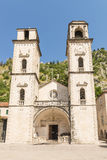 Ancient Orthodox church made of stone in the Byzantine style in Kotor Adriatic, Montenegro Stock Photography