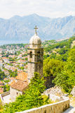 Ancient Orthodox church made of stone in the Byzantine style in Kotor Adriatic, Montenegro Royalty Free Stock Photo