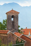 Ancient Orthodox Church tower in Perast stock images