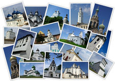 Ancient orthodox churches. In the north-west of Russia in collage with several shots Royalty Free Stock Images