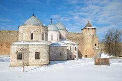 Ancient Orthodox churches and Ivangorod fortress Gate tower. Ivangorod, Russia Stock Photo