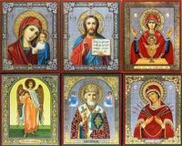 Ancient Orthodox icon. Gold fresco Stock Photo