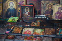 Ancient orthodox icons. On a flea market Royalty Free Stock Images