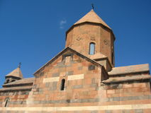 Ancient orthodox stone monastery in Armenia, Khor Virap Monastery, made of red brick stock images