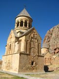 Ancient orthodox stone monastery in Armenia, Noravank, made of yellow brick royalty free stock image