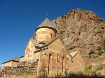 Ancient orthodox stone monastery in Armenia, Noravank, made of yellow brick stock images