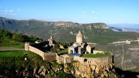 Ancient orthodox stone monastery in Armenia, Tatevmonastery, made of gray brick stock photography