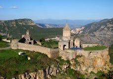 Ancient orthodox stone monastery in Armenia, Tatevmonastery, made of gray brick stock photo