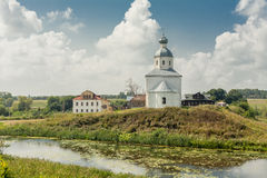Ancient orthodox temple. Surrounded with beautiful flat nature Stock Images