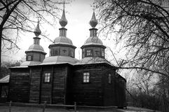Ancient orthodox wooden church, artistic image Royalty Free Stock Image