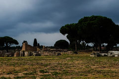 Ancient Ostia ruins and walls. Colors dark Stock Photos