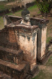 Ancient outdoor standing Buddha in temple. Royalty Free Stock Images