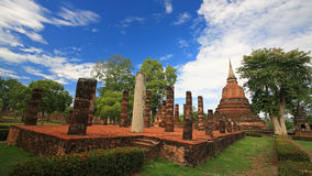 Ancient pagoda against blue sky at wat Mahathat Royalty Free Stock Photo