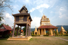 Ancient pagoda and art collection of Buddhist scriptures . Royalty Free Stock Photo
