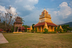 Ancient pagoda and art collection of Buddhist scriptures . Royalty Free Stock Images