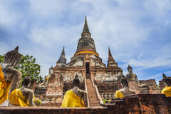 Ancient Pagoda in Ayuthaya historical park. With sun effect in Thailand Stock Images