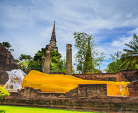 Ancient Pagoda in Ayuthaya historical park. With sun effect in Thailand royalty free stock image