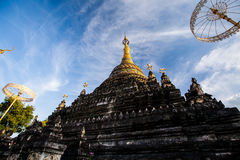 Ancient pagoda. With beautiful cloud and blue sky background at chiangmai, thailand Stock Images