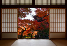 Ancient pagoda and beautiful red fall maples seen through a traditional Japanese doorway in autumn Royalty Free Stock Photography