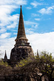 Ancient Pagoda. The Ancient Pagoda with bluesky at Wat Phra Sri Sanphet Temple in Ayutthaya Stock Image