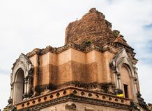Ancient Pagoda build from brick at Wat Chedi Luang in Chiang Mai Stock Images