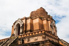 Ancient Pagoda build from brick at Wat Chedi Luang in Chiang Mai Royalty Free Stock Image